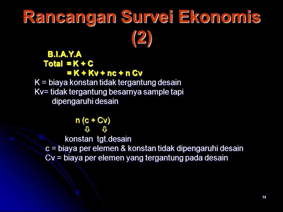 14 Rancangan Survei Ekonomis (2) B.I.A.Y.A B.I.A.Y.A Total = K + C Total = K + C = K + Kv + nc + n Cv = K + Kv + nc + n Cv K = biaya konstan tidak ter