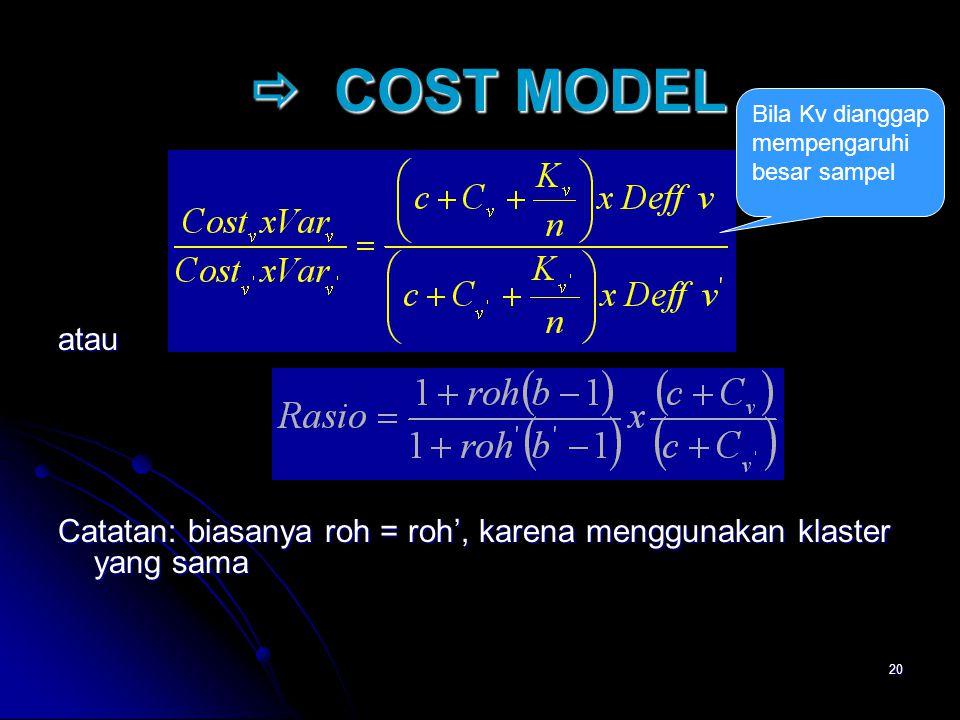 20  COST MODEL  COST MODEL atau Catatan: biasanya roh = roh', karena menggunakan klaster yang sama Bila Kv dianggap mempengaruhi besar sampel