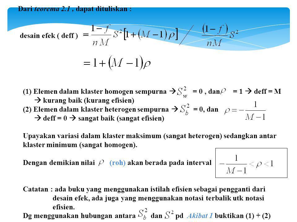 Dari teorema 2.1, dapat dituliskan : desain efek ( deff ) (1) Elemen dalam klaster homogen sempurna  = 0, dan = 1  deff = M  kurang baik (kurang efisien) (2) Elemen dalam klaster heterogen sempurna  = 0, dan  deff = 0  sangat baik (sangat efisien) Upayakan variasi dalam klaster maksimum (sangat heterogen) sedangkan antar klaster minimum (sangat homogen).