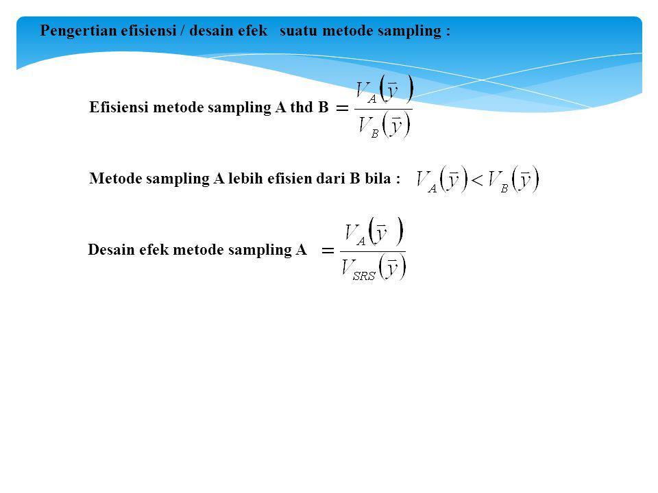 Desain efek metode sampling A Efisiensi metode sampling A thd B Pengertian efisiensi / desain efek suatu metode sampling : Metode sampling A lebih efisien dari B bila :