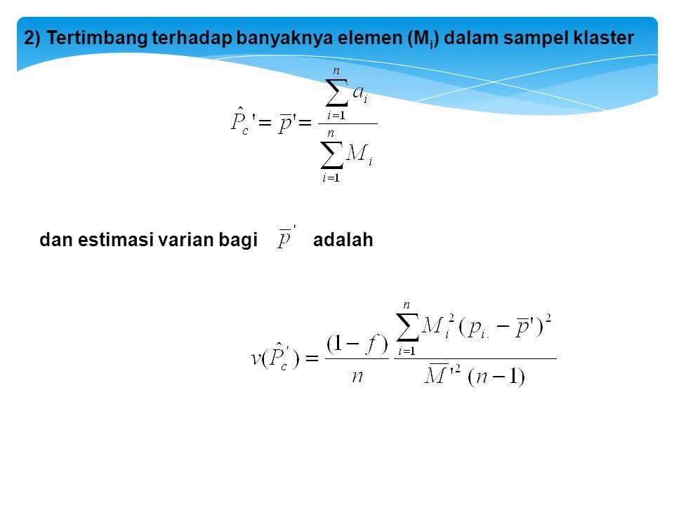 2) Tertimbang terhadap banyaknya elemen (M i ) dalam sampel klaster dan estimasi varian bagi adalah