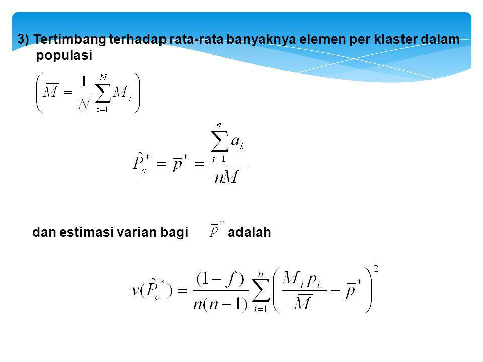 3) Tertimbang terhadap rata-rata banyaknya elemen per klaster dalam populasi dan estimasi varian bagi adalah
