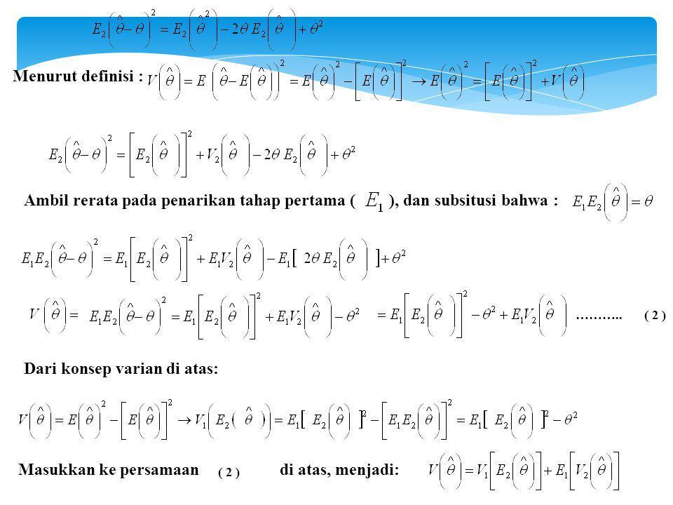 Menurut definisi : Ambil rerata pada penarikan tahap pertama ( ), dan subsitusi bahwa : Dari konsep varian di atas: Masukkan ke persamaan di atas, menjadi: ………..