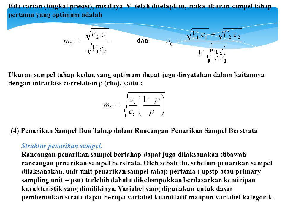 Bila varian (tingkat presisi), misalnya V telah ditetapkan, maka ukuran sampel tahap pertama yang optimum adalah dan Ukuran sampel tahap kedua yang optimum dapat juga dinyatakan dalam kaitannya dengan intraclass correlation  (rho), yaitu : (4) Penarikan Sampel Dua Tahap dalam Rancangan Penarikan Sampel Berstrata Struktur penarikan sampel.