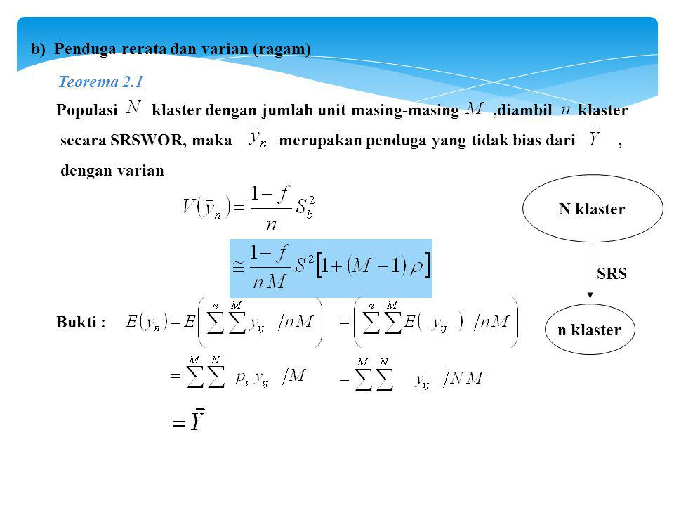 b) Penduga rerata dan varian (ragam) Populasi klaster dengan jumlah unit masing-masing,diambil klaster secara SRSWOR, maka merupakan penduga yang tidak bias dari, dengan varian Bukti : Teorema 2.1 N klaster n klaster SRS
