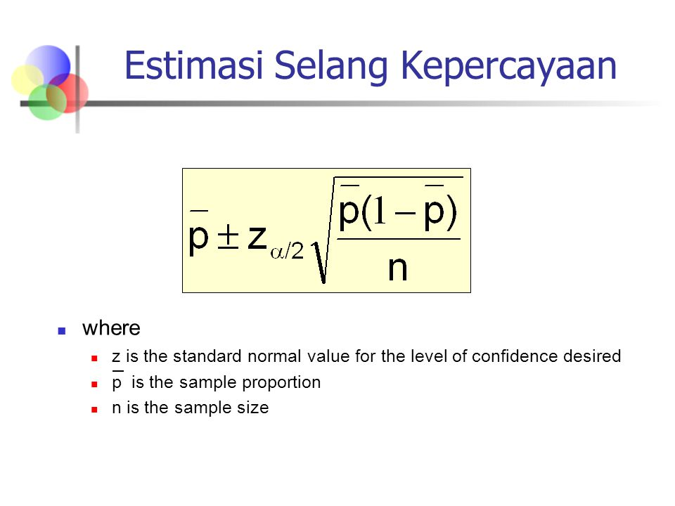 Estimasi Selang Kepercayaan where z is the standard normal value for the level of confidence desired p is the sample proportion n is the sample size
