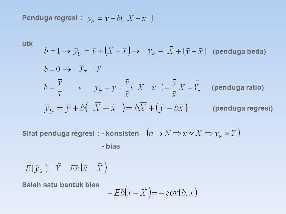 Penduga regresi : utk Sifat penduga regresi : - konsisten - bias Salah satu bentuk bias (penduga ratio) (penduga regresi) (penduga beda)