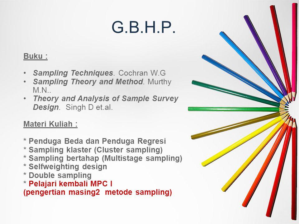 G.B.H.P. Buku : Sampling Techniques. Cochran W.G Sampling Theory and Method. Murthy M.N.. Theory and Analysis of Sample Survey Design. Singh D et.al.