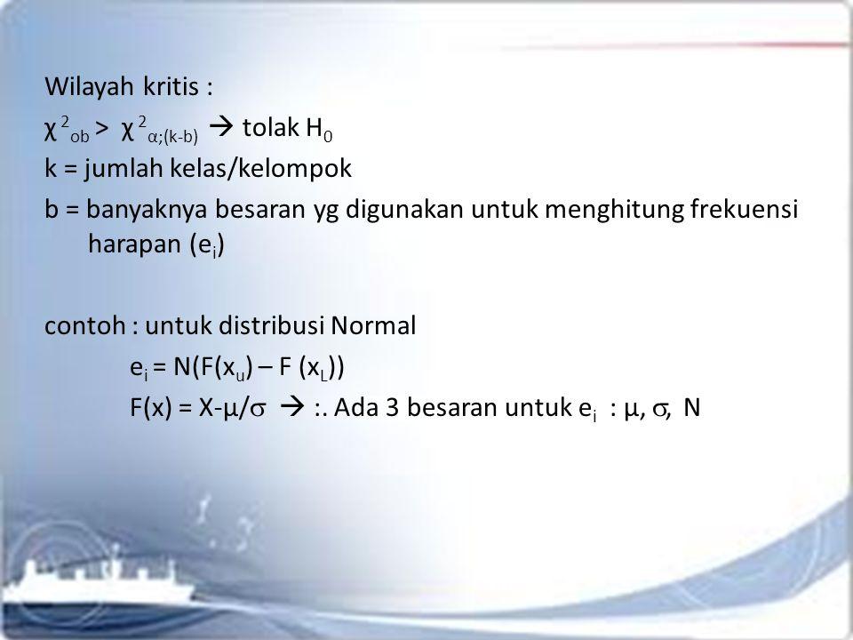 Wilayah kritis : χ 2 ob > χ 2 α;(k-b)  tolak H 0 k = jumlah kelas/kelompok b = banyaknya besaran yg digunakan untuk menghitung frekuensi harapan (e i ) contoh : untuk distribusi Normal e i = N(F(x u ) – F (x L )) F(x) = X-µ/   :.
