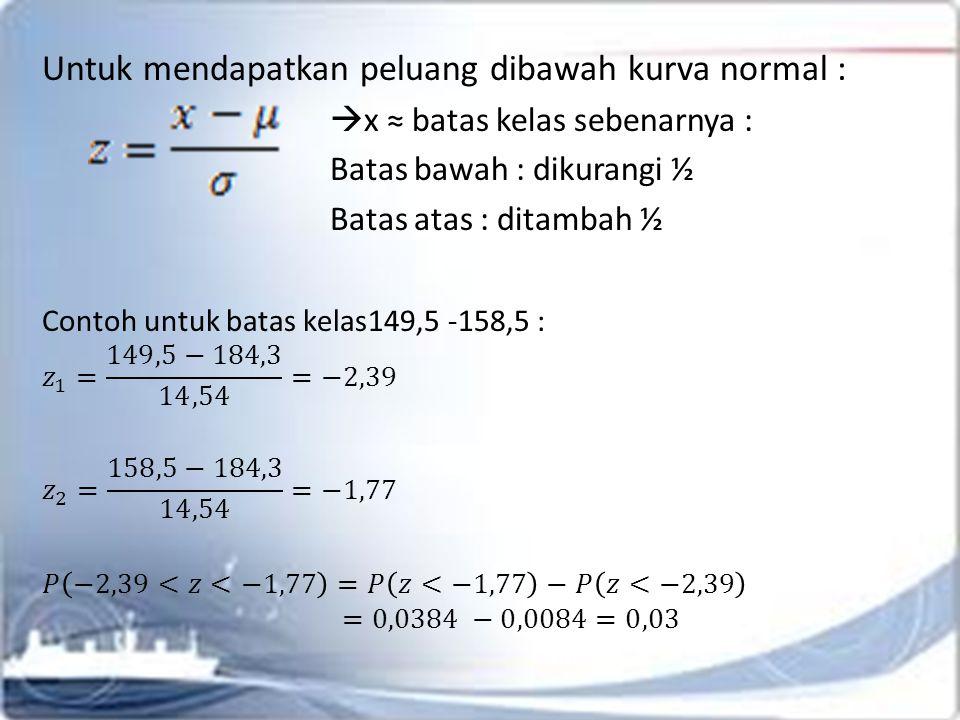 3.LILIEFORS TEST Uji kenormalan untuk sampel kecil Jika terdapat sampel berukuran n, ; x 1, x 2, …, x n  apakah sampel tersebut menyebar normal .