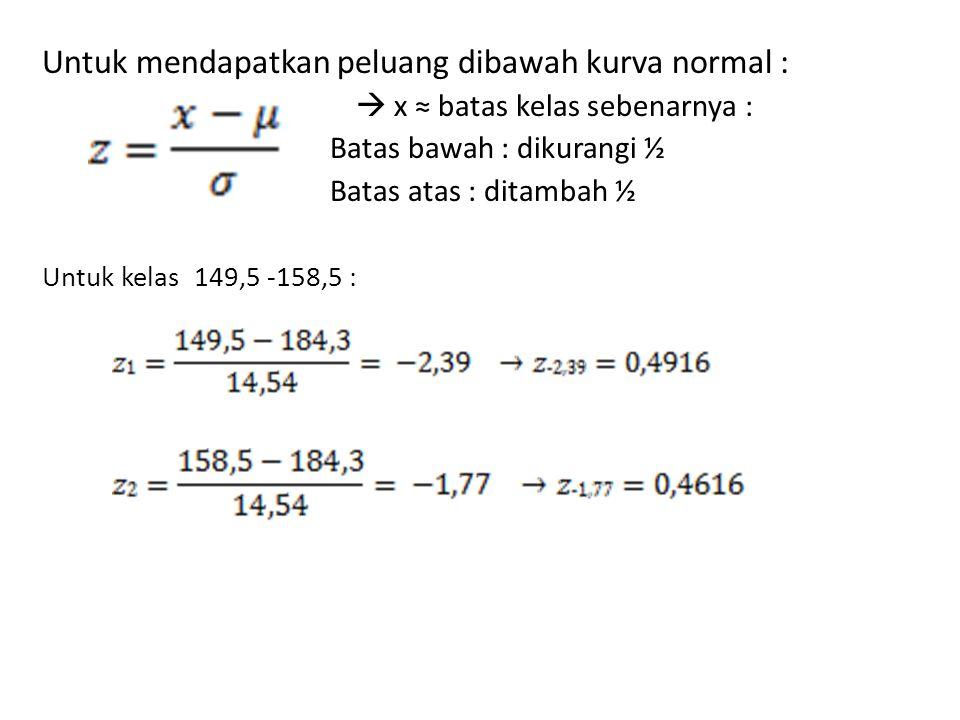 Untuk mendapatkan peluang dibawah kurva normal :  x ≈ batas kelas sebenarnya : Batas bawah : dikurangi ½ Batas atas : ditambah ½ Untuk kelas 149,5 -1