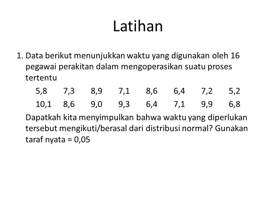 Latihan 1. Data berikut menunjukkan waktu yang digunakan oleh 16 pegawai perakitan dalam mengoperasikan suatu proses tertentu 5,87,38,97,18,66,47,25,2