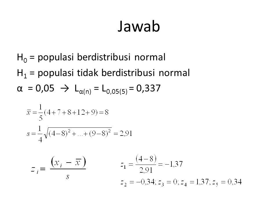 Jawab H 0 = populasi berdistribusi normal H 1 = populasi tidak berdistribusi normal α = 0,05 → L α(n) = L 0,05(5) = 0,337