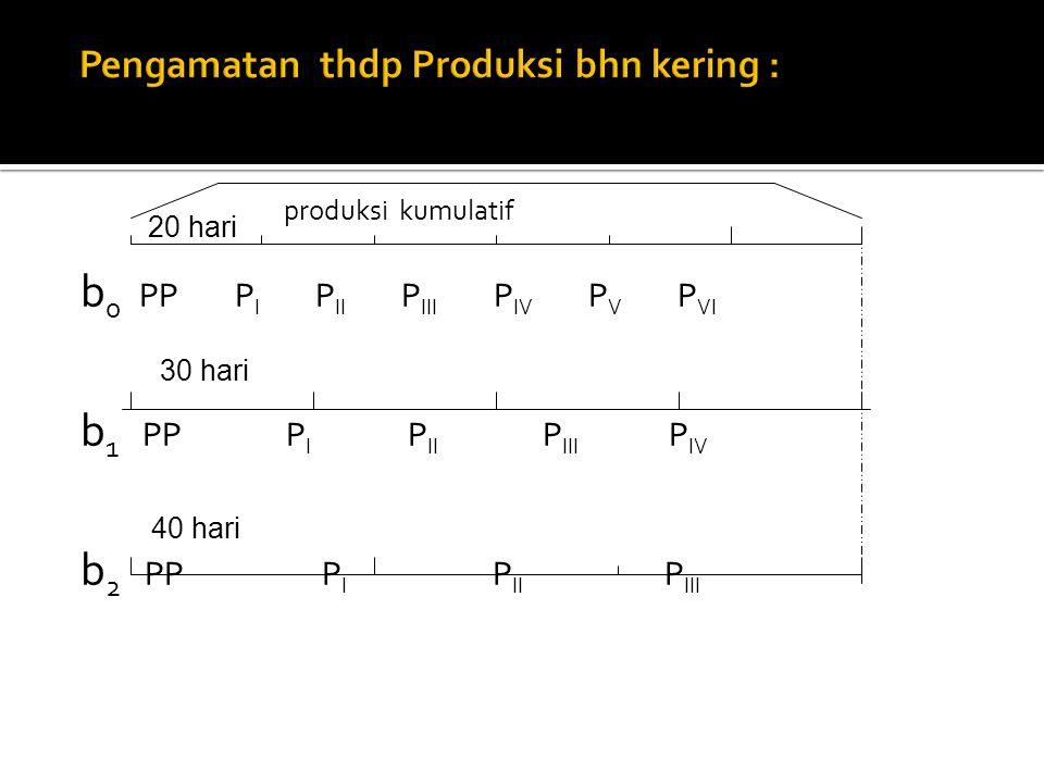 produksi kumulatif b 0 PP P I P II P III P IV P V P VI b 1 PP P I P II P III P IV b 2 PP P I P II P III 20 hari 30 hari 40 hari