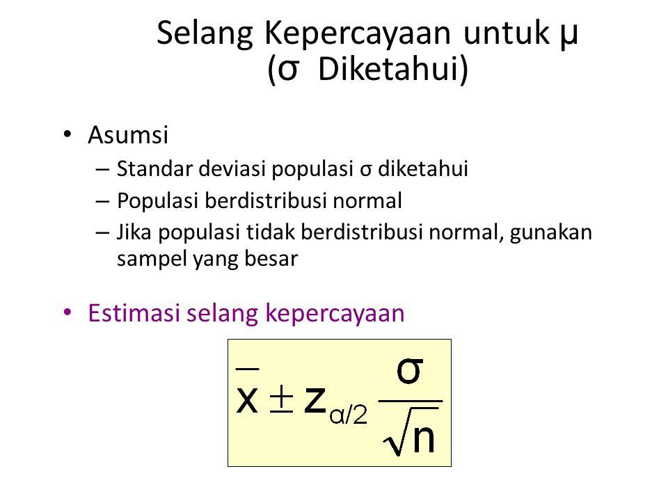 Selang Kepercayaan untuk μ ( σ Diketahui) Asumsi – Standar deviasi populasi σ diketahui – Populasi berdistribusi normal – Jika populasi tidak berdistribusi normal, gunakan sampel yang besar Estimasi selang kepercayaan