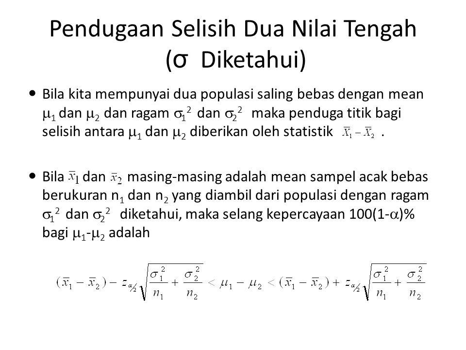 Pendugaan Selisih Dua Nilai Tengah ( σ Diketahui) Bila kita mempunyai dua populasi saling bebas dengan mean  1 dan  2 dan ragam  1 2 dan  2 2 maka
