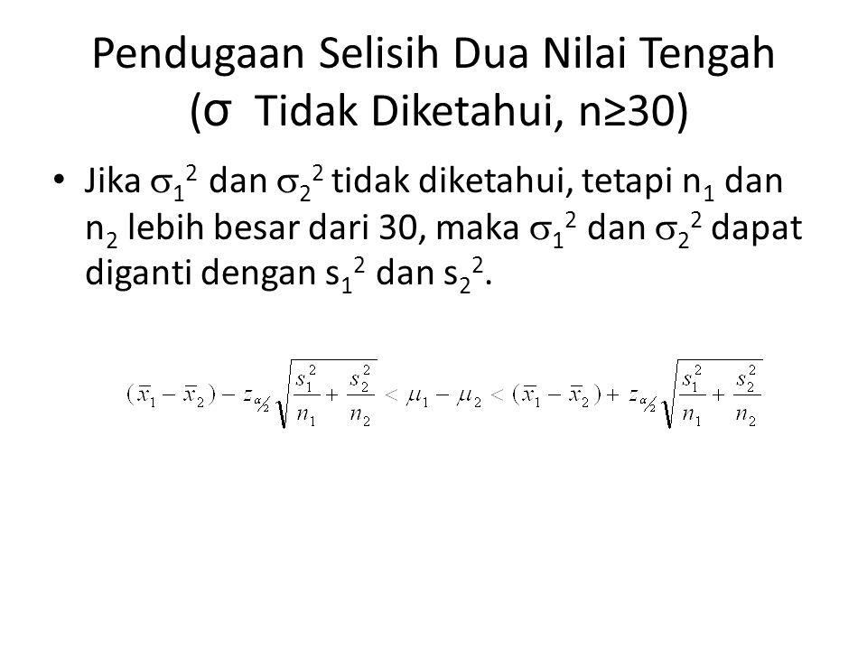 Pendugaan Selisih Dua Nilai Tengah ( σ Tidak Diketahui, n≥30) Jika  1 2 dan  2 2 tidak diketahui, tetapi n 1 dan n 2 lebih besar dari 30, maka  1 2 dan  2 2 dapat diganti dengan s 1 2 dan s 2 2.