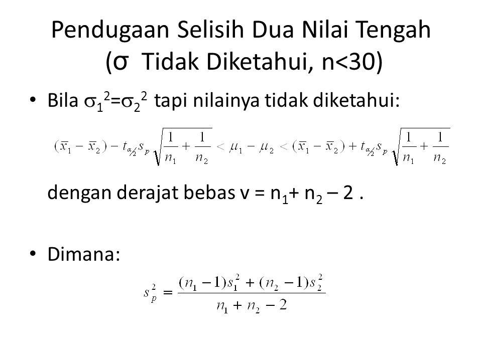 Pendugaan Selisih Dua Nilai Tengah ( σ Tidak Diketahui, n<30) Bila  1 2 =  2 2 tapi nilainya tidak diketahui: dengan derajat bebas v = n 1 + n 2 – 2