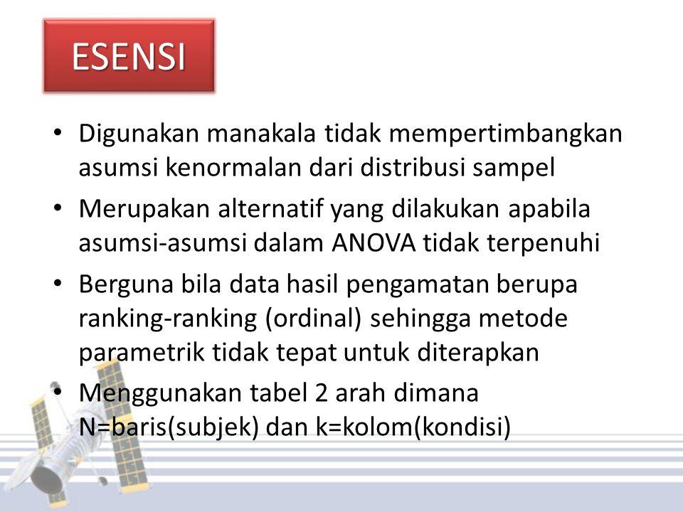 ESENSIESENSI Digunakan manakala tidak mempertimbangkan asumsi kenormalan dari distribusi sampel Merupakan alternatif yang dilakukan apabila asumsi-asu