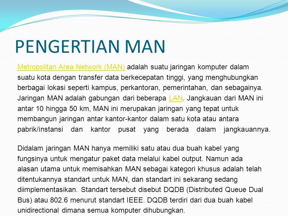 PENGERTIAN MAN Metropolitan Area Network (MAN)Metropolitan Area Network (MAN) adalah suatu jaringan komputer dalam suatu kota dengan transfer data ber