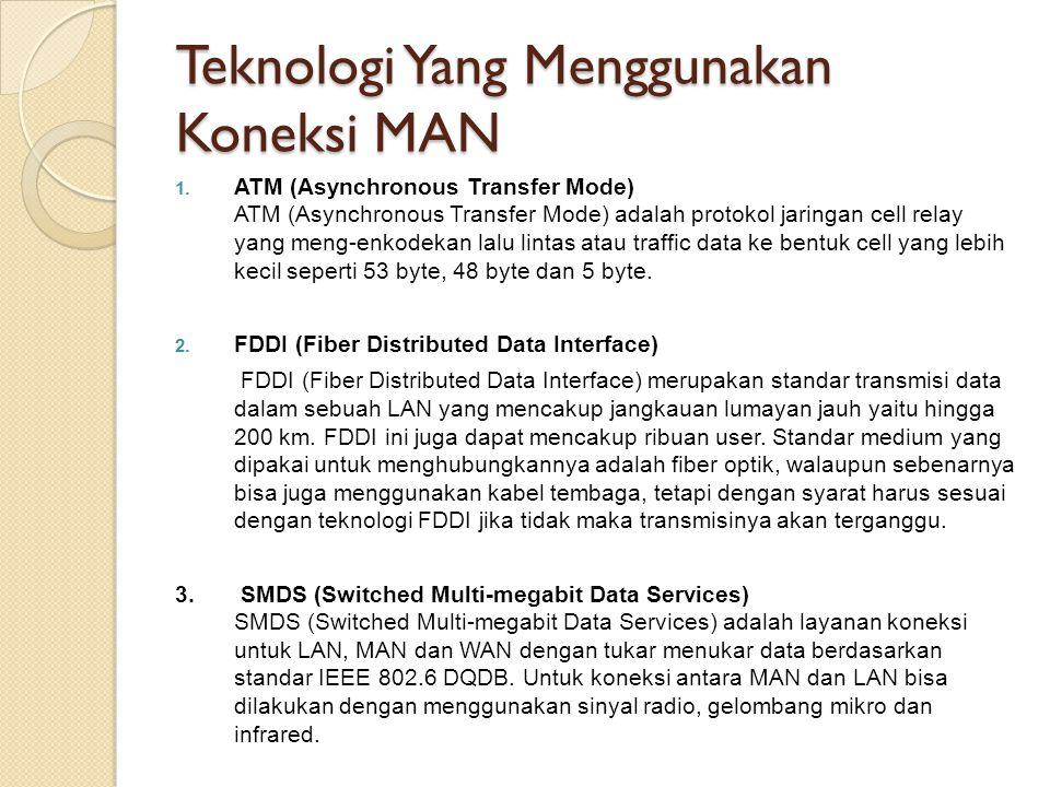 Teknologi Yang Menggunakan Koneksi MAN 1. ATM (Asynchronous Transfer Mode) ATM (Asynchronous Transfer Mode) adalah protokol jaringan cell relay yang m