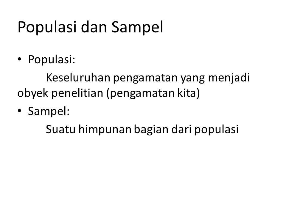 Populasi dan Sampel Populasi: Keseluruhan pengamatan yang menjadi obyek penelitian (pengamatan kita) Sampel: Suatu himpunan bagian dari populasi