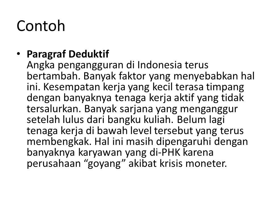 Contoh Paragraf Deduktif Angka pengangguran di Indonesia terus bertambah. Banyak faktor yang menyebabkan hal ini. Kesempatan kerja yang kecil terasa t
