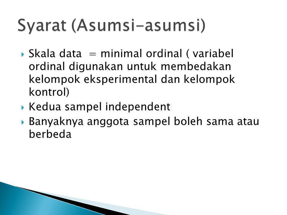  Skala data = minimal ordinal ( variabel ordinal digunakan untuk membedakan kelompok eksperimental dan kelompok kontrol)  Kedua sampel independent 