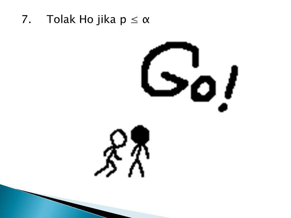 7.Tolak Ho jika p ≤ α