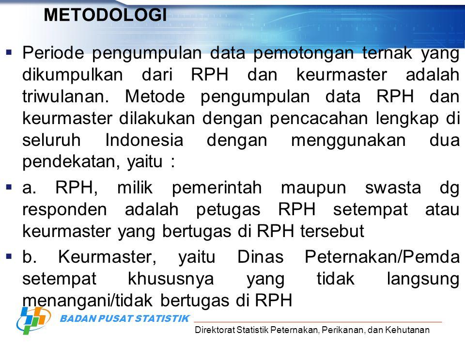 Direktorat Statistik Peternakan, Perikanan, dan Kehutanan BADAN PUSAT STATISTIK METODOLOGI  Periode pengumpulan data pemotongan ternak yang dikumpulk