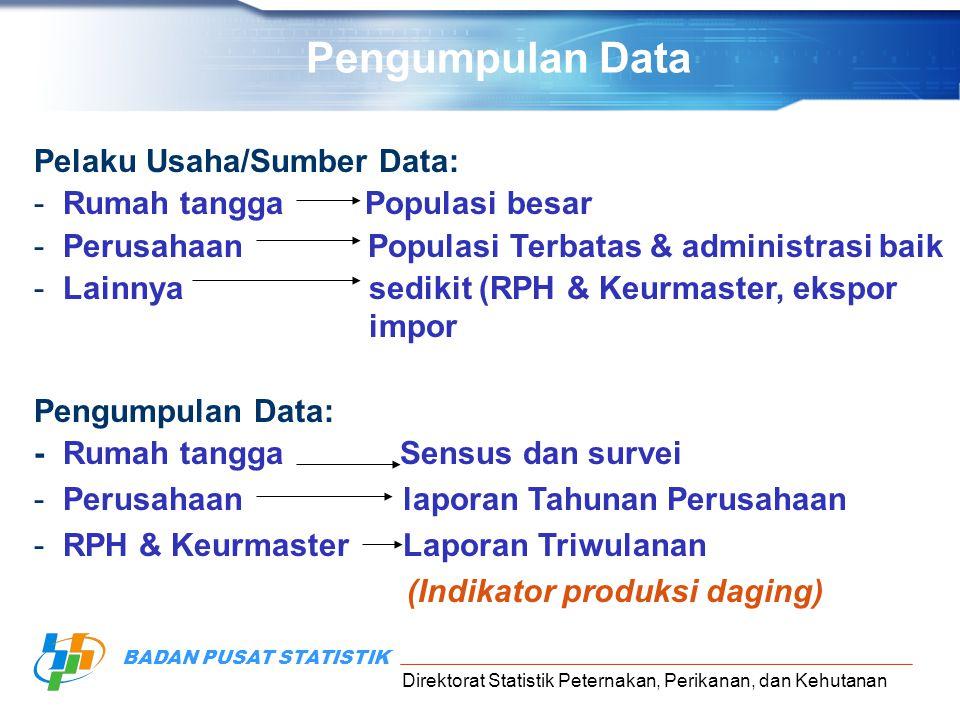 Direktorat Statistik Peternakan, Perikanan, dan Kehutanan BADAN PUSAT STATISTIK Pelaku Usaha/Sumber Data: -Rumah tangga Populasi besar -Perusahaan Pop