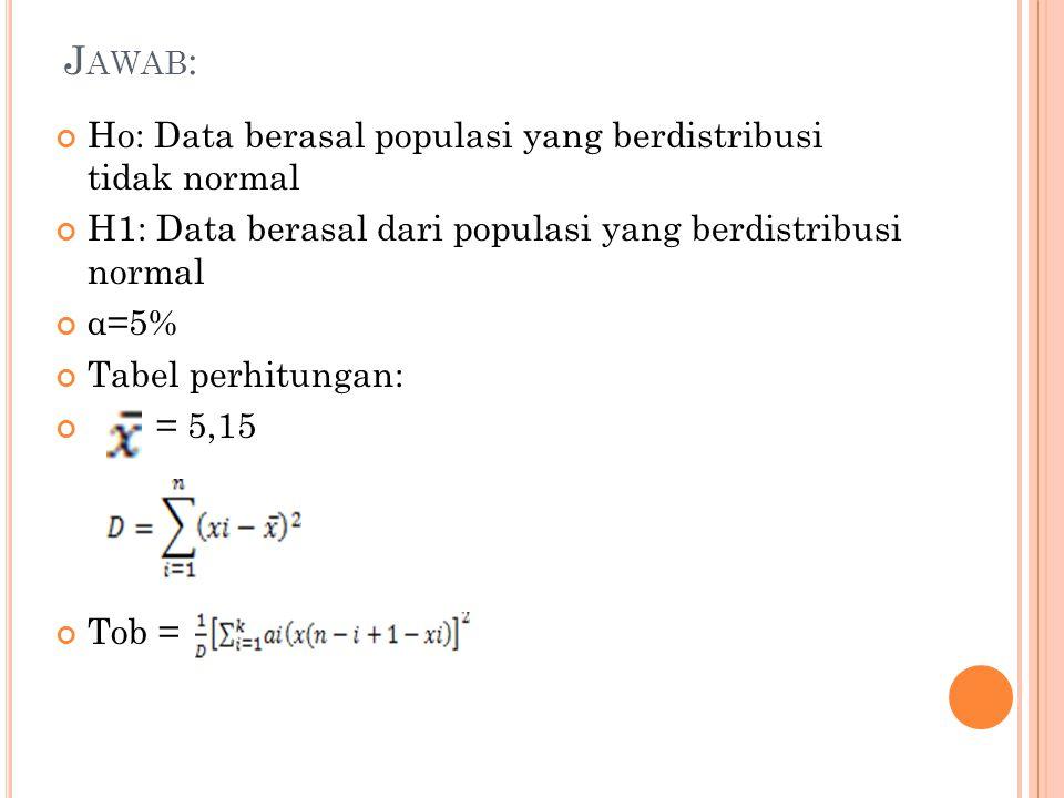 J AWAB : Ho: Data berasal populasi yang berdistribusi tidak normal H1: Data berasal dari populasi yang berdistribusi normal α=5% Tabel perhitungan: =