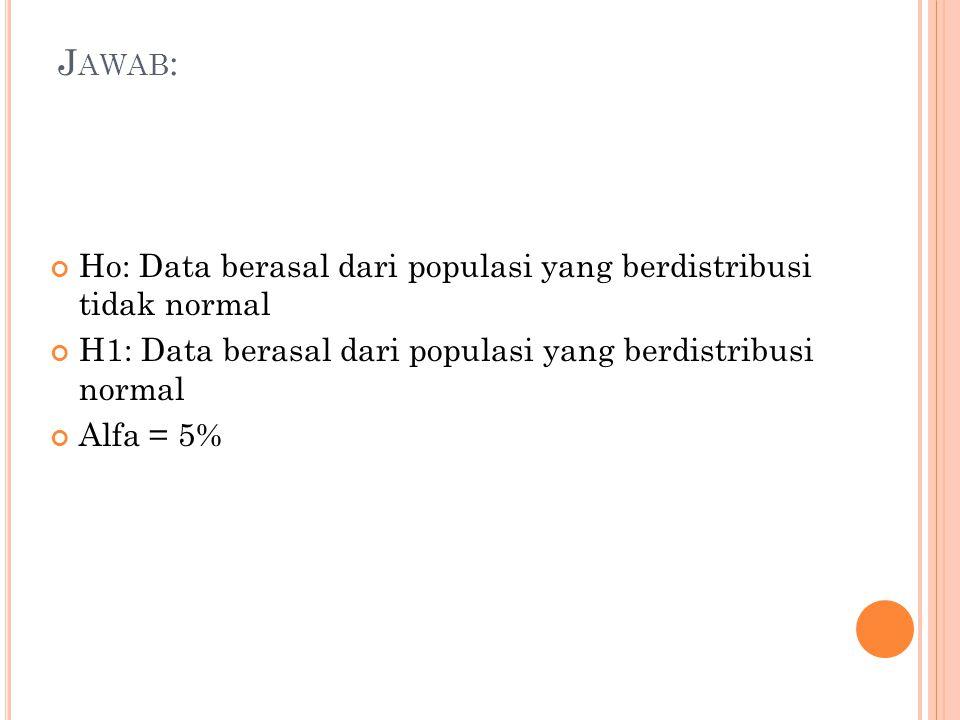 J AWAB : Ho: Data berasal dari populasi yang berdistribusi tidak normal H1: Data berasal dari populasi yang berdistribusi normal Alfa = 5%