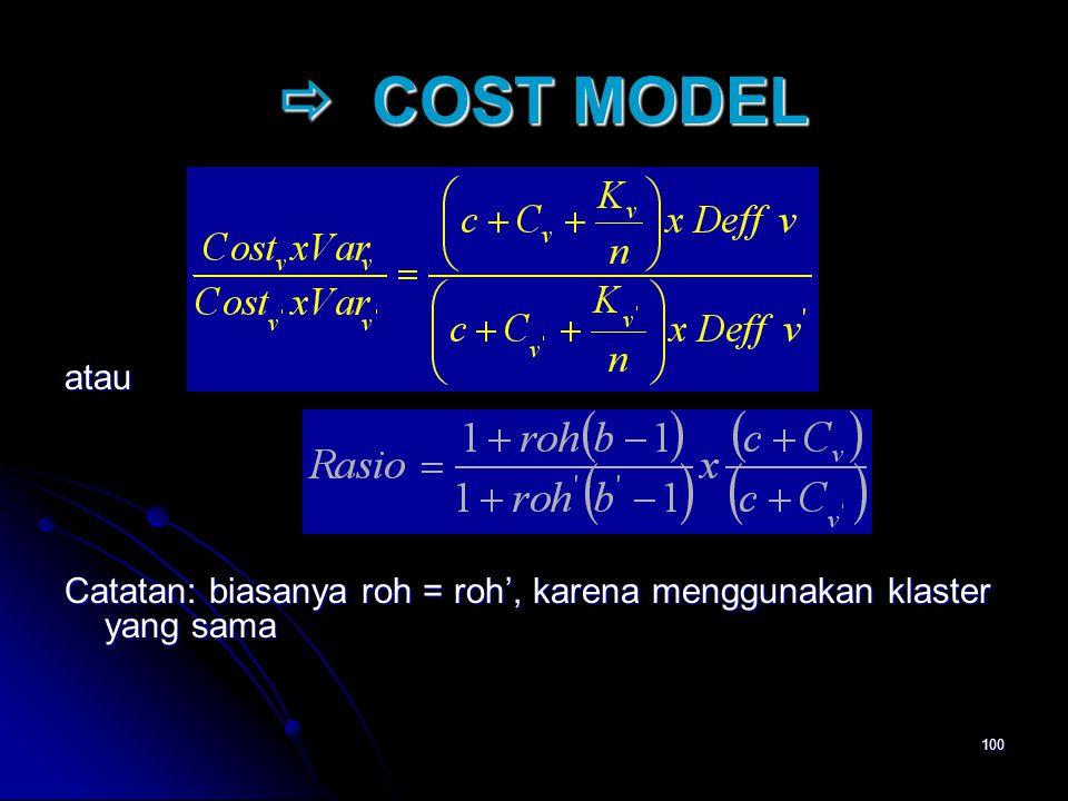 100  COST MODEL  COST MODEL atau Catatan: biasanya roh = roh', karena menggunakan klaster yang sama
