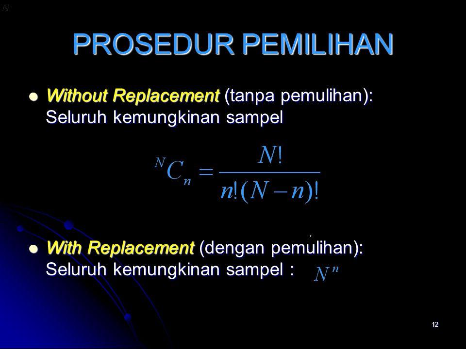 12 PROSEDUR PEMILIHAN Without Replacement (tanpa pemulihan): Seluruh kemungkinan sampel Without Replacement (tanpa pemulihan): Seluruh kemungkinan sam