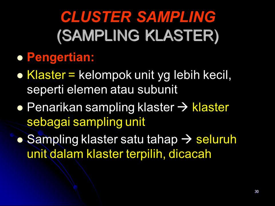 30 (SAMPLING KLASTER) CLUSTER SAMPLING (SAMPLING KLASTER) Pengertian: Klaster = kelompok unit yg lebih kecil, seperti elemen atau subunit Penarikan sa