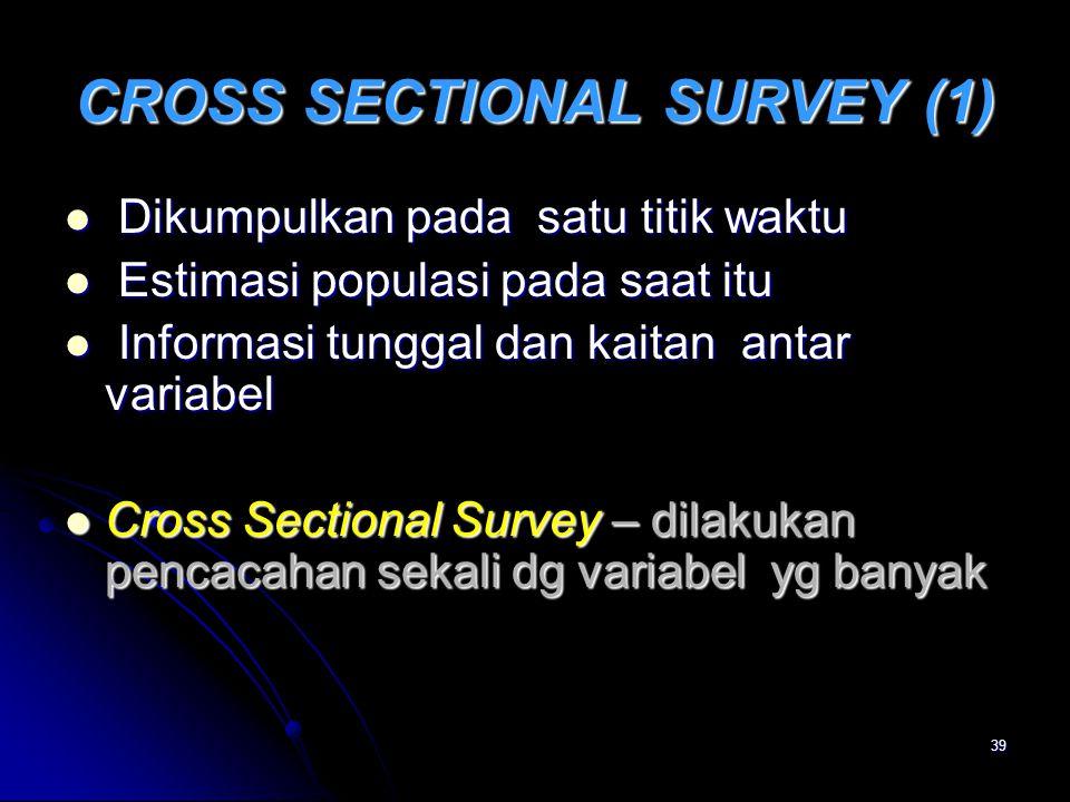 39 CROSS SECTIONAL SURVEY (1) Dikumpulkan pada satu titik waktu Dikumpulkan pada satu titik waktu Estimasi populasi pada saat itu Estimasi populasi pa