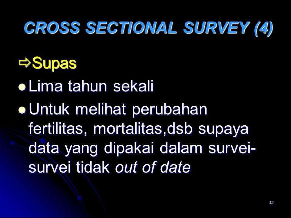 42 CROSS SECTIONAL SURVEY (4) CROSS SECTIONAL SURVEY (4)  Supas Lima tahun sekali Lima tahun sekali Untuk melihat perubahan fertilitas, mortalitas,ds