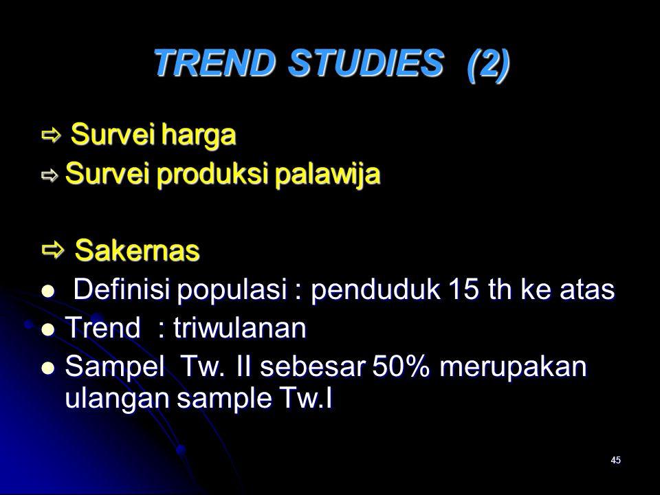 45 TREND STUDIES (2)  Survei harga  Survei produksi palawija  Sakernas Definisi populasi : penduduk 15 th ke atas Definisi populasi : penduduk 15 t