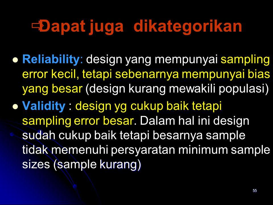55   Dapat juga dikategorikan Reliability: design yang mempunyai sampling error kecil, tetapi sebenarnya mempunyai bias yang besar (design kurang me