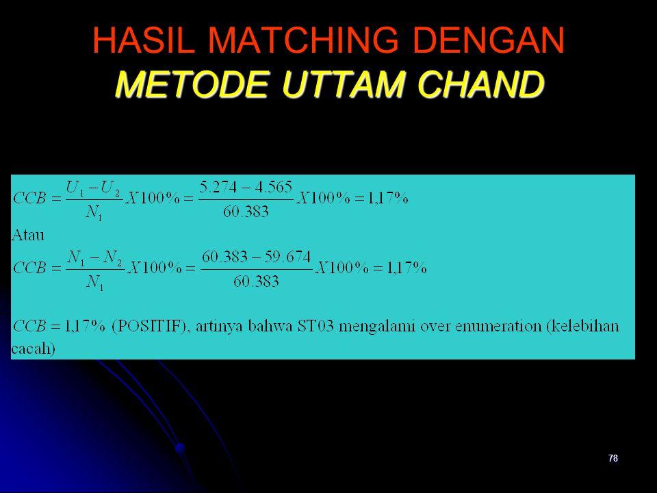 78 METODE UTTAM CHAND HASIL MATCHING DENGAN METODE UTTAM CHAND