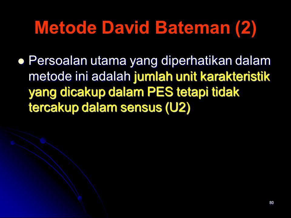 80 Metode David Bateman (2) Persoalan utama yang diperhatikan dalam metode ini adalah jumlah unit karakteristik yang dicakup dalam PES tetapi tidak te