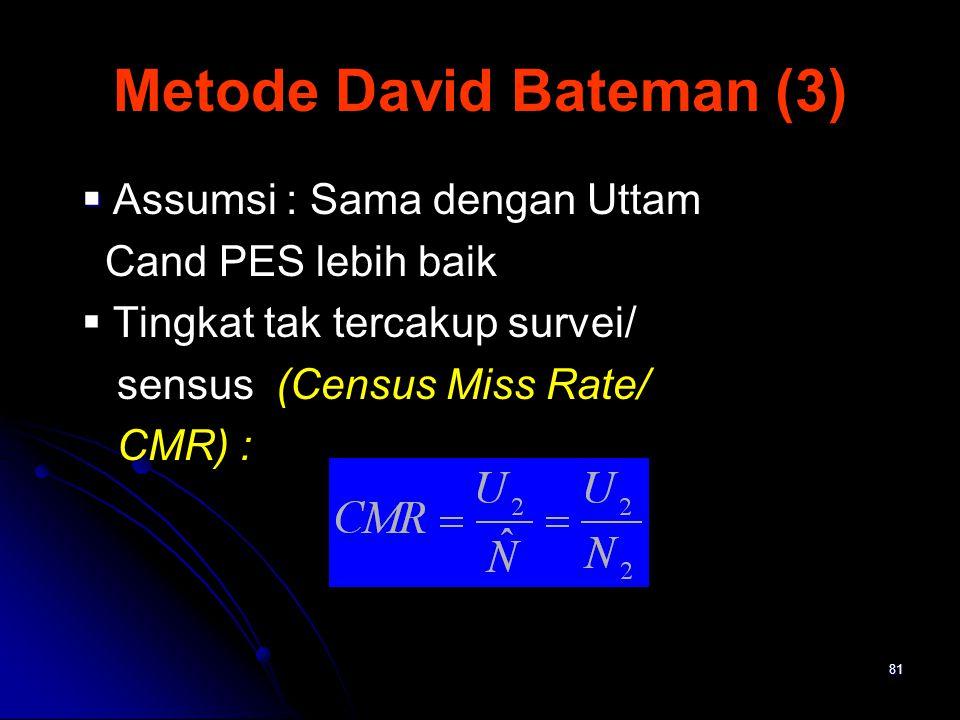 81 Metode David Bateman (3)   Assumsi : Sama dengan Uttam Cand PES lebih baik  Tingkat tak tercakup survei/ sensus (Census Miss Rate/ CMR) :