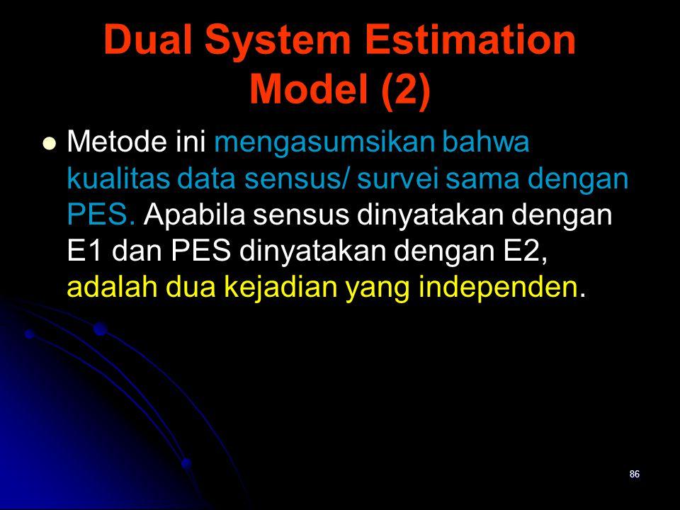 86 Dual System Estimation Model (2) Metode ini mengasumsikan bahwa kualitas data sensus/ survei sama dengan PES. Apabila sensus dinyatakan dengan E1 d