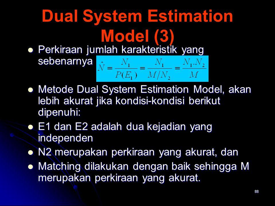 88 Dual System Estimation Model (3) Perkiraan jumlah karakteristik yang sebenarnya : Perkiraan jumlah karakteristik yang sebenarnya : Metode Dual Syst