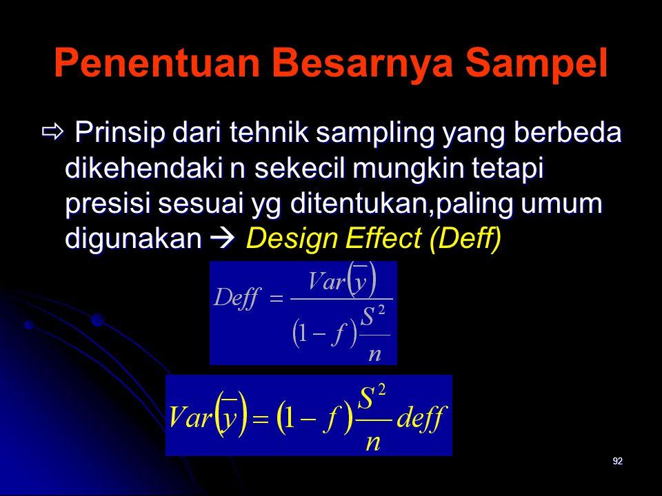 92 Penentuan Besarnya Sampel  Prinsip dari tehnik sampling yang berbeda dikehendaki n sekecil mungkin tetapi presisi sesuai yg ditentukan,paling umum