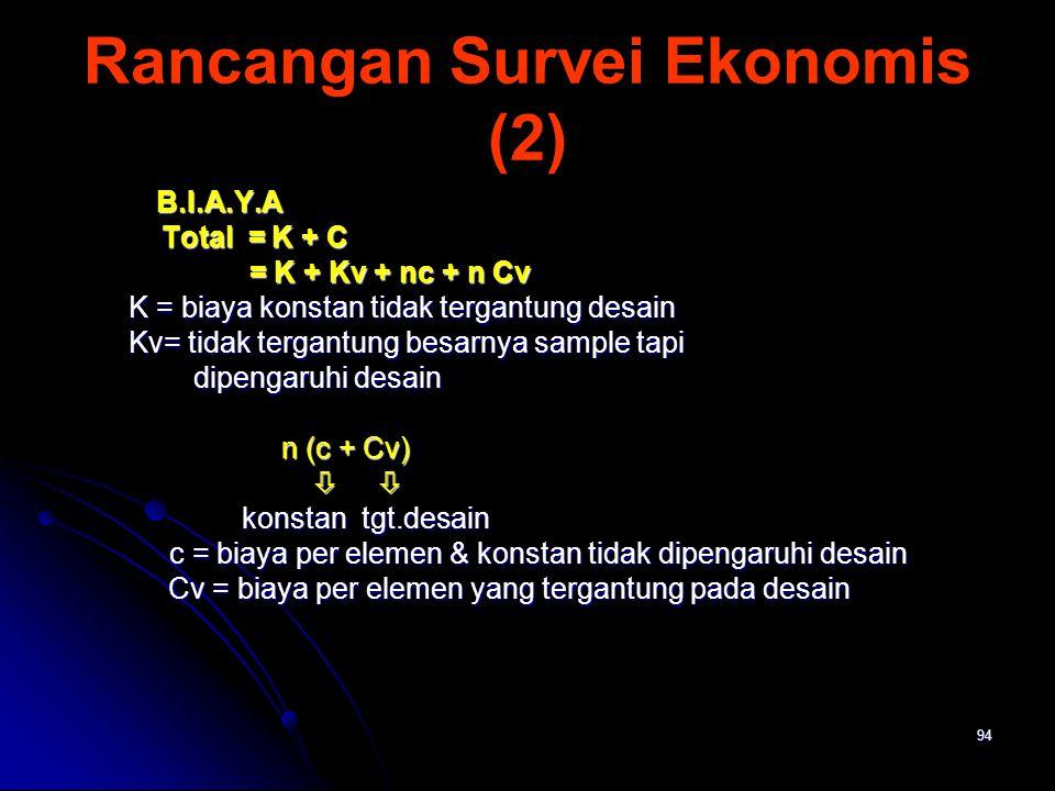 94 Rancangan Survei Ekonomis (2) B.I.A.Y.A B.I.A.Y.A Total = K + C Total = K + C = K + Kv + nc + n Cv = K + Kv + nc + n Cv K = biaya konstan tidak ter
