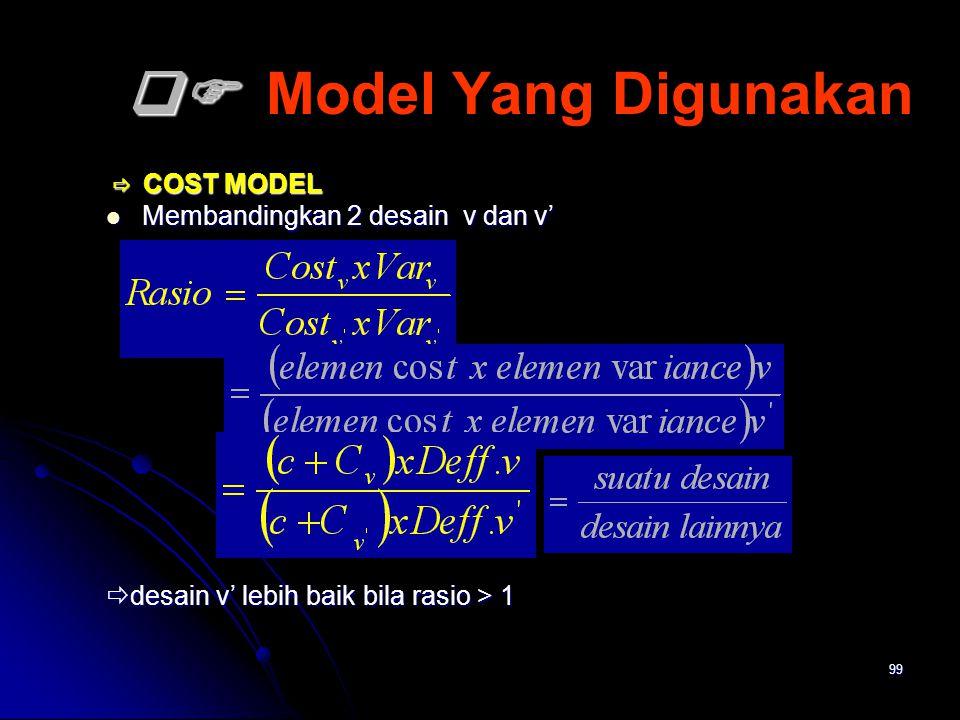 99   Model Yang Digunakan  COST MODEL  COST MODEL Membandingkan 2 desain v dan v' Membandingkan 2 desain v dan v'  desain v' lebih baik bila ra