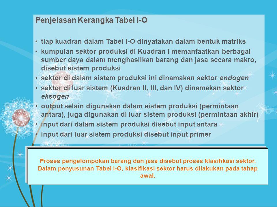 Penjelasan Kerangka Tabel I-O tiap kuadran dalam Tabel I-O dinyatakan dalam bentuk matriks kumpulan sektor produksi di Kuadran I memanfaatkan berbagai