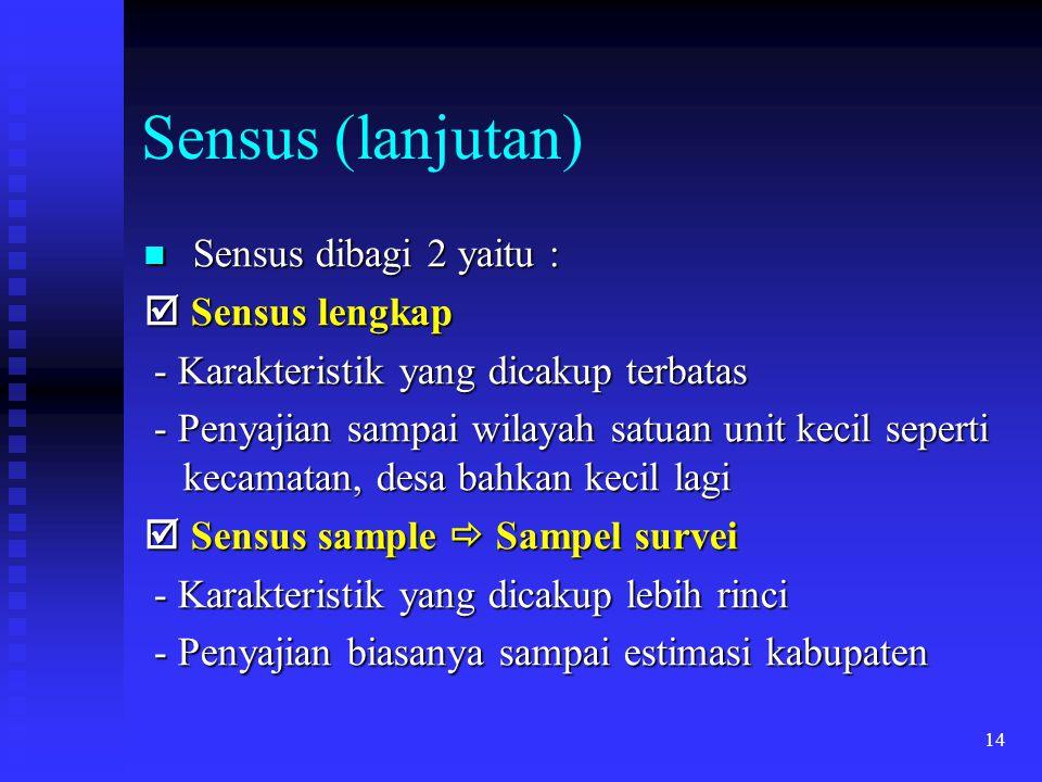 14 Sensus (lanjutan) Sensus dibagi 2 yaitu : Sensus dibagi 2 yaitu :  Sensus lengkap - Karakteristik yang dicakup terbatas - Karakteristik yang dicak